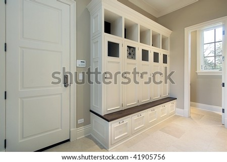 Mudroom in new construction home - stock photo