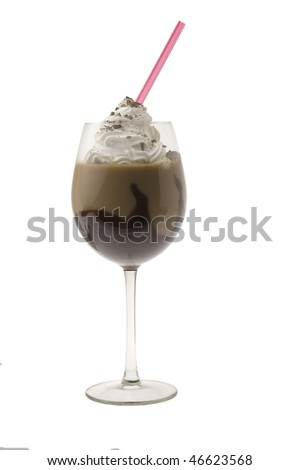 Mudslide mixed drink on white background - stock photo