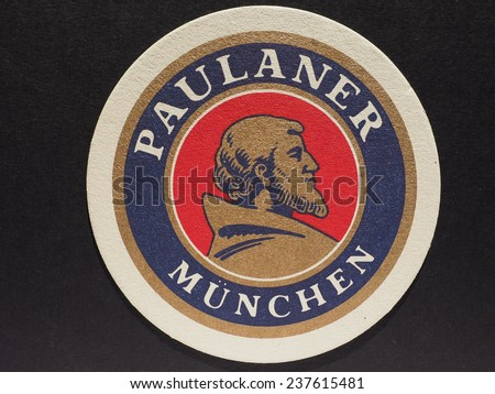 MUENCHEN, GERMANY - DECEMBER 11, 2014: Beermat of German beer Paulaner - stock photo