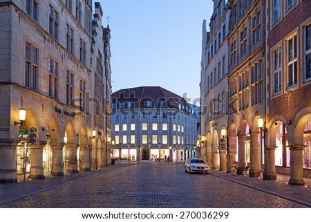 MUENSTER, GERMANY- APR 4: Historic buildings in the old town of Muenster. April 4, 2015 in Muenster, North Rhine-Westphalia, Germany