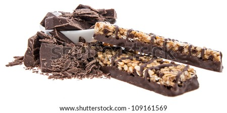 Muesli bar with Chocolate pieces isolated on white background - stock photo