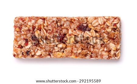 Muesli bar with fruits and nuts isolated on white - stock photo