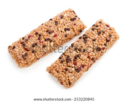 muesli bars isolated on white background