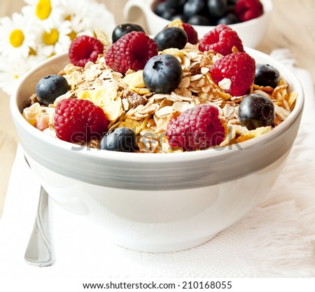 Muesli Bowl with Blueberries and Raspberries, Healthy Granola Breakfast