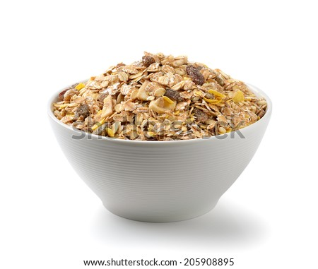 muesli breakfast placed in the bowl on white background - stock photo