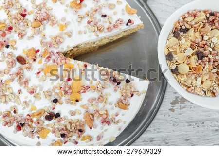 Muesli Cake Slice - stock photo