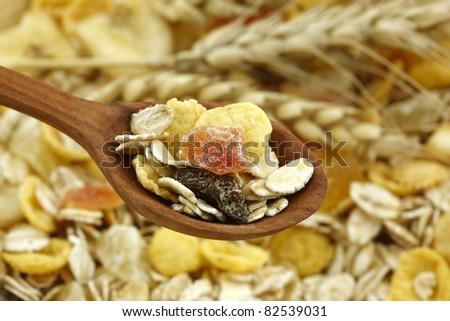 Muesli cereal breakfast - stock photo