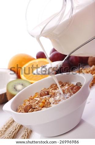 Muesli for breakfast - stock photo