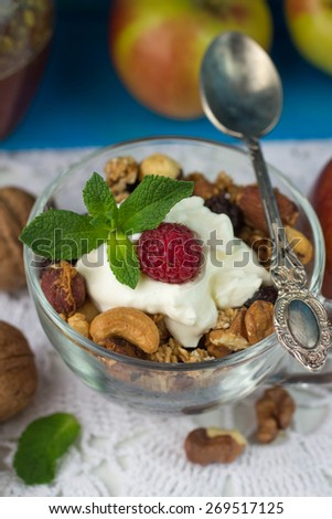 Muesli. Home made granola. A healthy Breakfast of cereals, fruit, berries, nuts and honey.  - stock photo