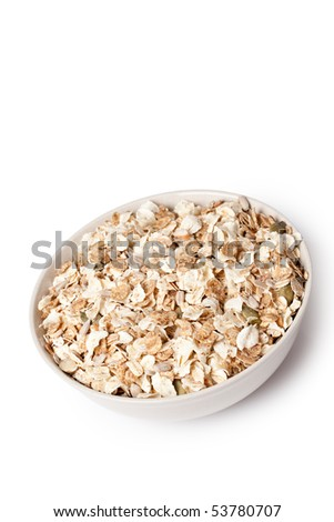 muesli in bowl on white background - stock photo