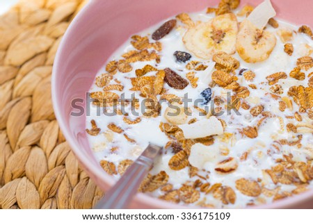 Muesli in the spoon, Healthy food concept. - stock photo