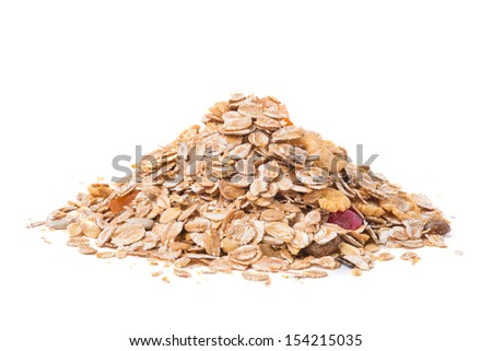 muesli isolated on white background - stock photo