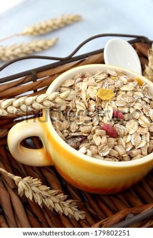 muesli of oats with raisin - stock photo