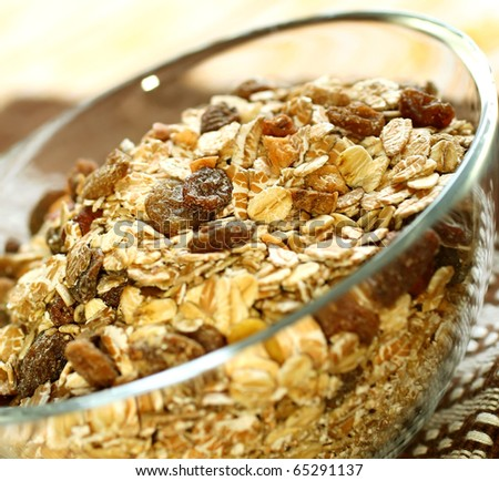 muesli of oats with raisin
