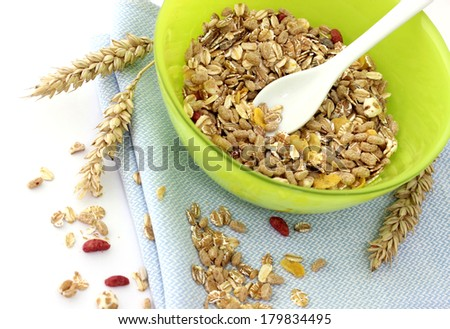 muesli of oats with raisin and nuts - stock photo