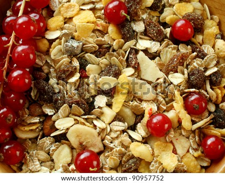muesli of oats with raisin and red currant - stock photo