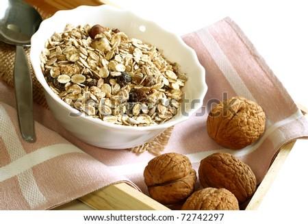 muesli of oats with raisin and walnuts - stock photo