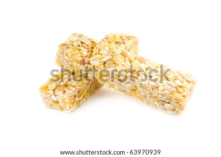 Muesli snack sticks isolated on white - stock photo