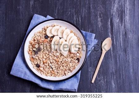 muesli with banana - stock photo