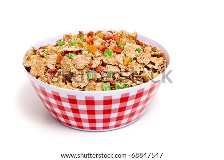 Muesli with dried fruit in a plate - stock photo