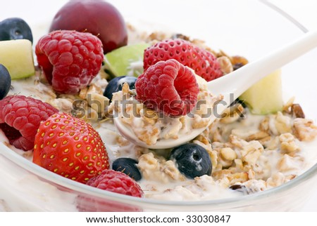Muesli with fresh Fruits - stock photo
