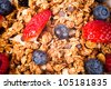 muesli with fresh fruits. macro - stock photo