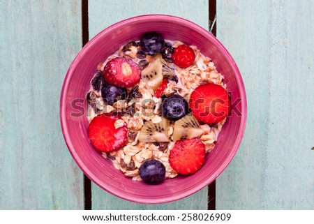 muesli with fruits - stock photo