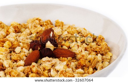 Muesli with hazelnuts in a plate