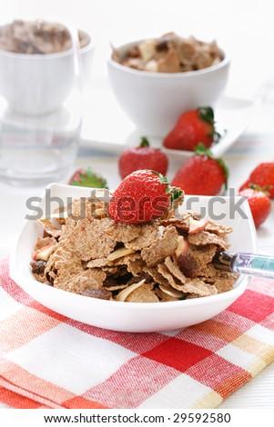 muesli with ripe red strawberry - stock photo