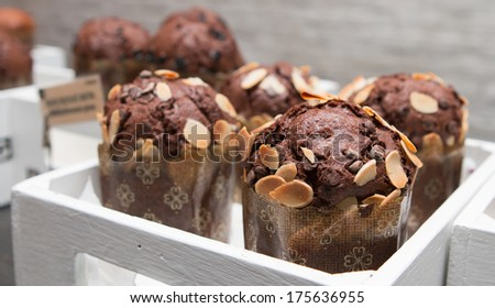 Muffin at the buffet line.  - stock photo