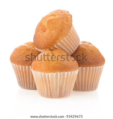 muffin cakes isolated on white background - stock photo