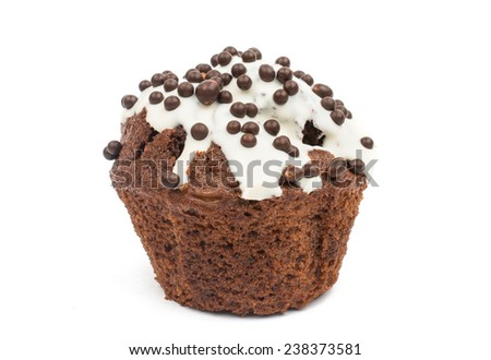 muffin chocolate isolated on white background - stock photo