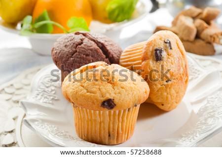 muffin on dish - stock photo