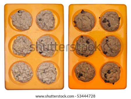 Muffin Tops Before and After Baking.  Isolated on White. - stock photo