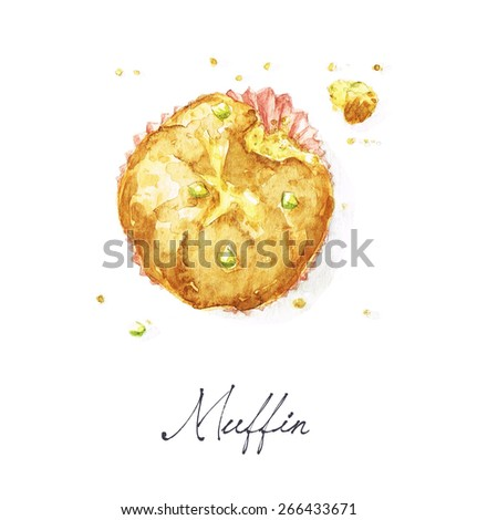 Muffin - Watercolor Food Collection - stock photo