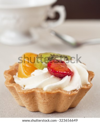muffin with fruit and mascarpone - stock photo