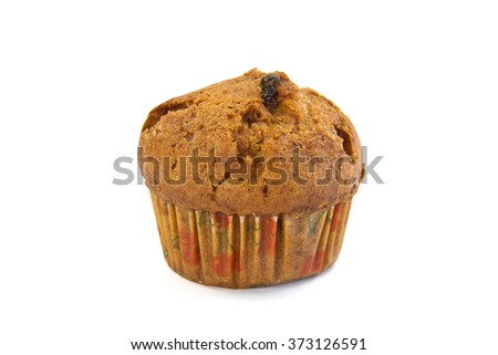 Muffin with fruit prepared traditional home recipe - stock photo