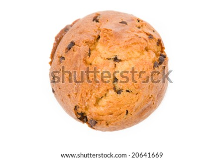 Muffin with white background, close up