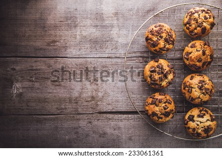 Muffins on a cooling hatch - stock photo