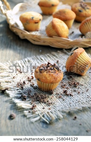 muffins with chocolate - stock photo