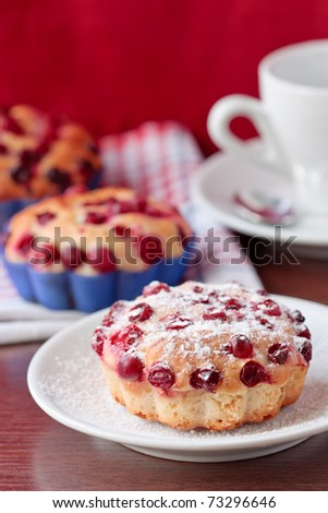 Muffins with cranberries.