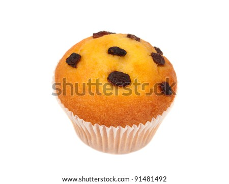 muffins with raisins isolated on white background - stock photo