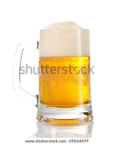 mug about beer on a white background is isolated.