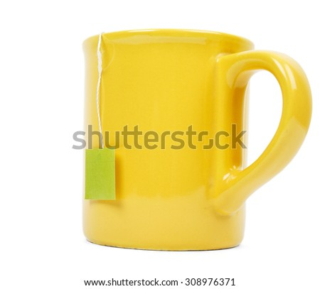 Mug and tea bag isolated on white background