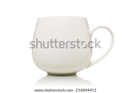 Mug cup with handle isolated on white background.