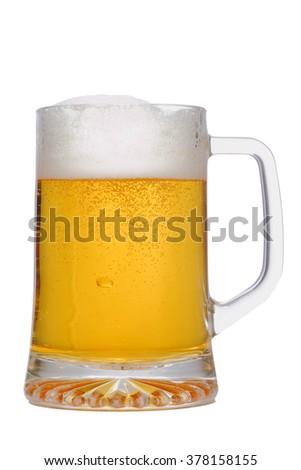 Mug fresh beer isolated on white background - stock photo