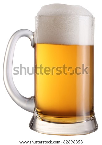 Mug full of fresh beer isolated on a white background. File contains a path to cut. - stock photo