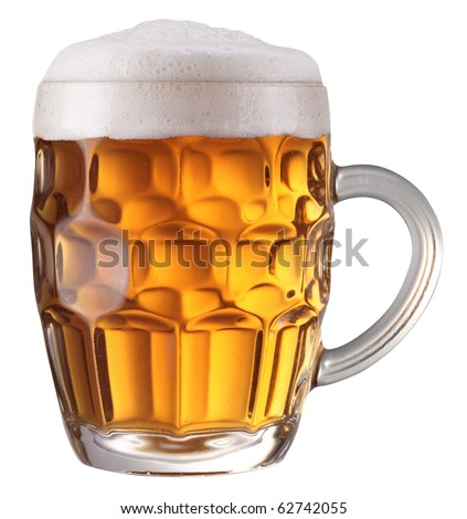 Mug full of fresh beer isolated on a white background. File contains a path to cut.