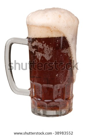 Mug of Ale with a frothy head with clipping path - stock photo