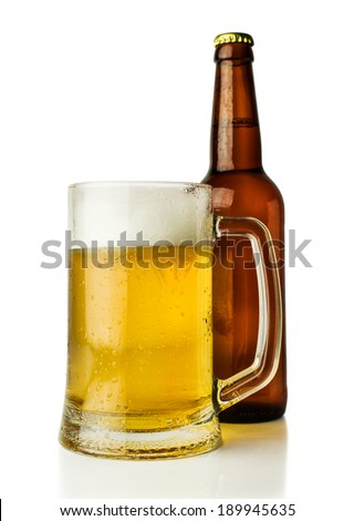 mug of beer and a bottle isolated on white - stock photo